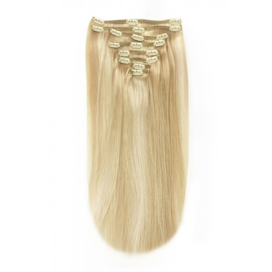 Remy Human Hair extensions straight - bruin / blond 16/613