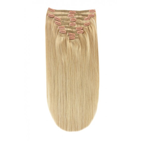 Remy Human Hair extensions Double Weft straight - blond 16#