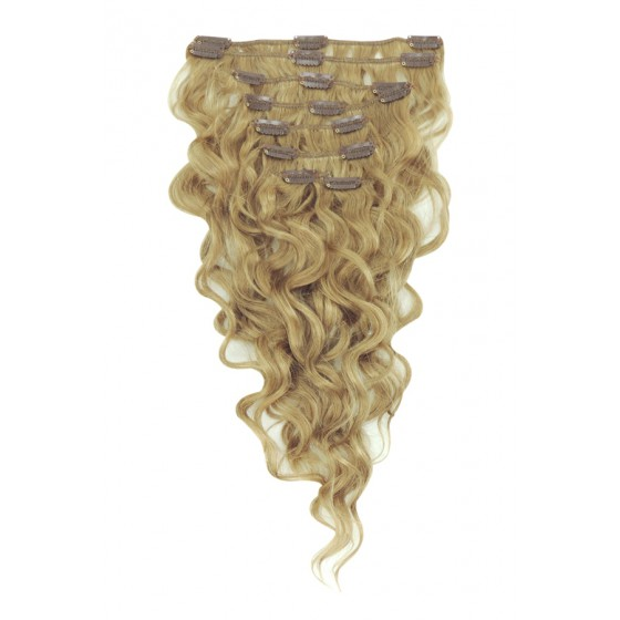 Remy Human Hair extensions wavy - blond 18#
