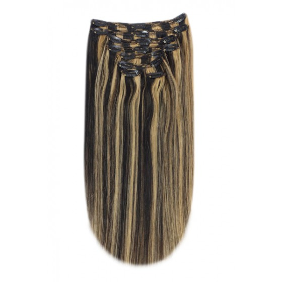 Remy Human Hair extensions Double Weft straight - zwart / blond 1B/27#