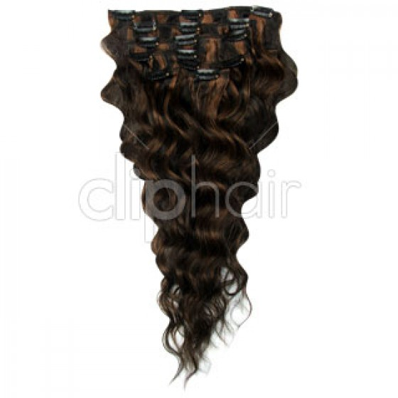 Clip-in Wavy Natural Black Auburn Mix #1B/30