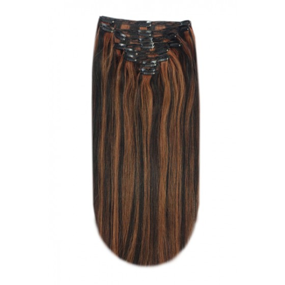 Remy Human Hair extensions Double Weft straight - zwart / rood 1B/30#