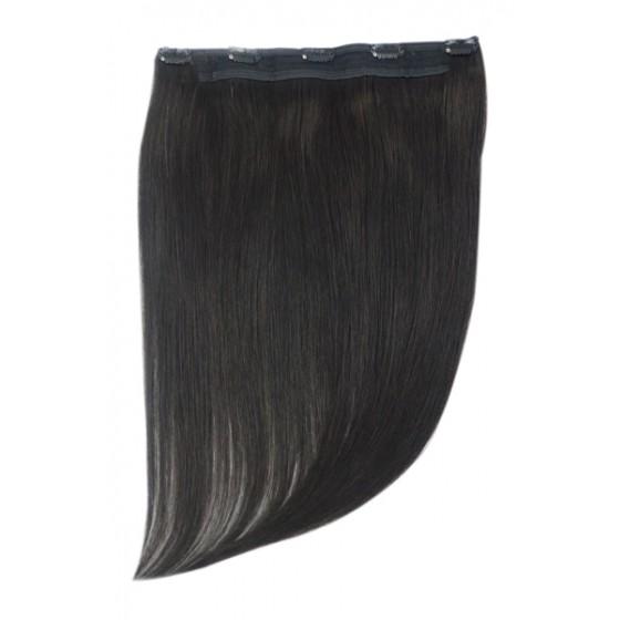 Remy Human Hair extensions Quad Weft straight - zwart 1B#