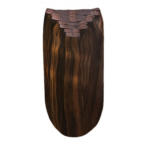 Remy Human Hair extensions straight - bruin 2/4/6