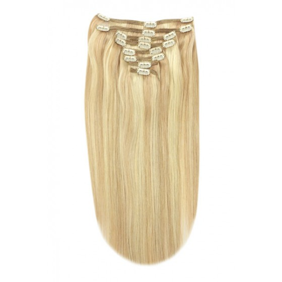 Remy Human Hair extensions Double Weft straight - blond 27/613#