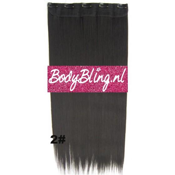 hair extension clip in donker bruin zwart
