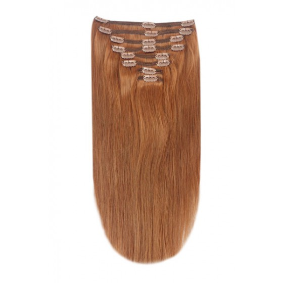 Remy Human Hair extensions Double Weft straight - rood 30#