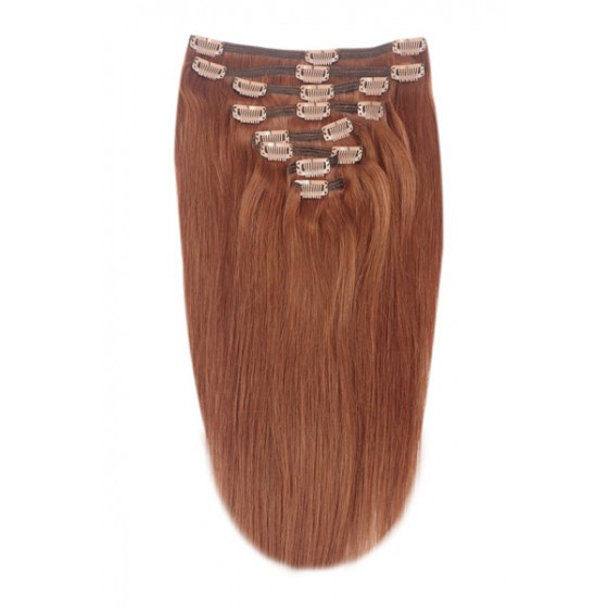 Remy Human Hair extensions Double Weft straight - rood 33#