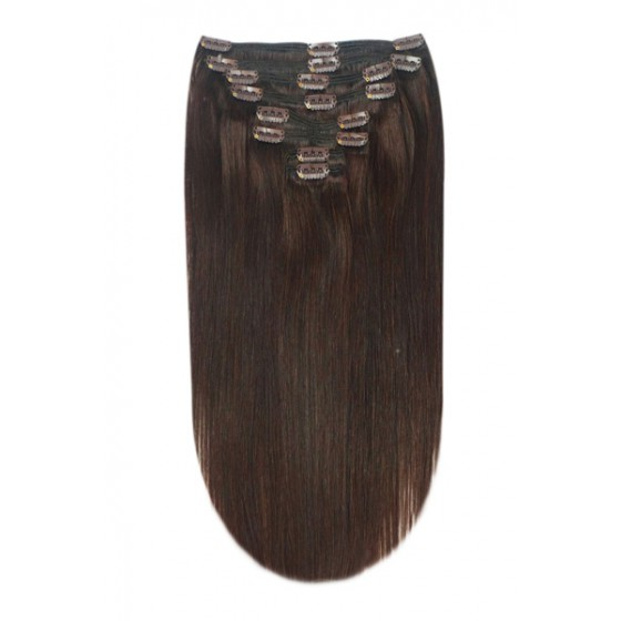 Remy Human Hair extensions straight - bruin 3#