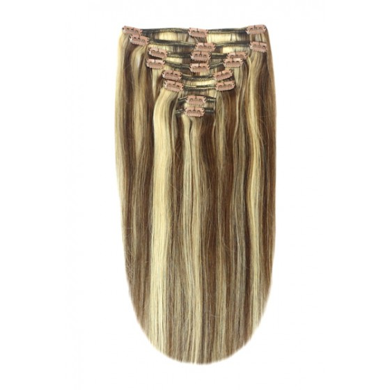 Remy Human Hair extensions Double Weft straight - bruin / blond 4/24#