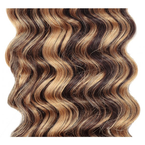 Clip-in Curly Medium Brown/Strawberry Blonde Mix #4/27