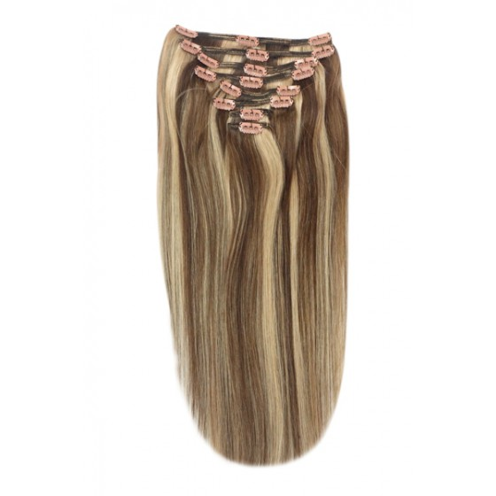 Remy Human Hair extensions Double Weft straight - bruin / blond 4/27#