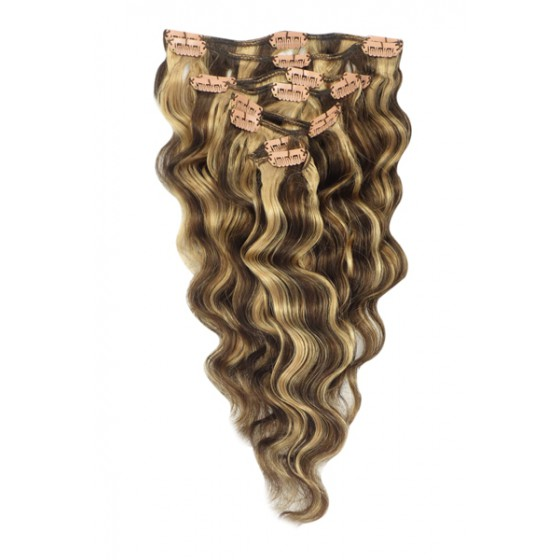 Remy Human Hair extensions wavy - bruin / blond 4/27#
