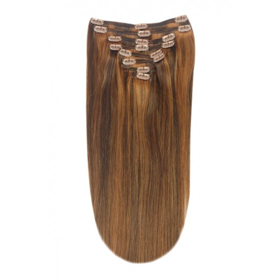 Remy Human Hair extensions Double Weft straight - bruin / rood 4/30#