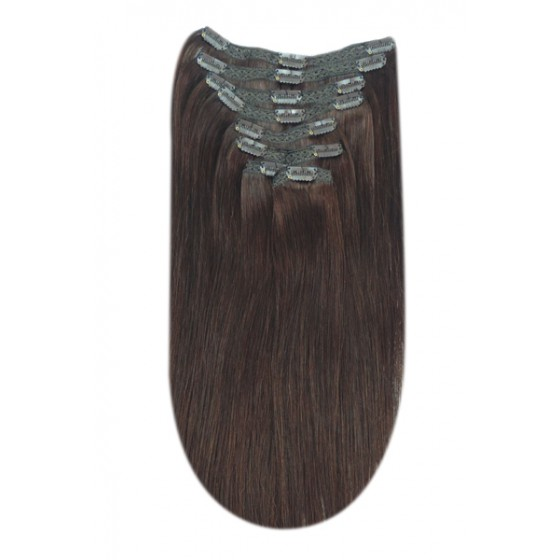 Remy Human Hair extensions Double Weft straight - bruin 4#