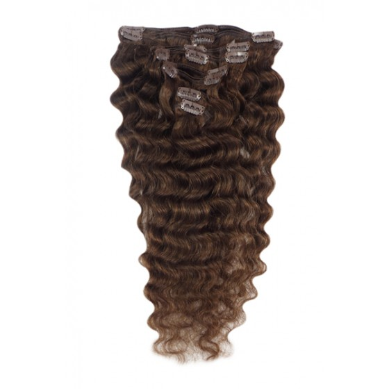Remy Human Hair extensions wavy - bruin 4#