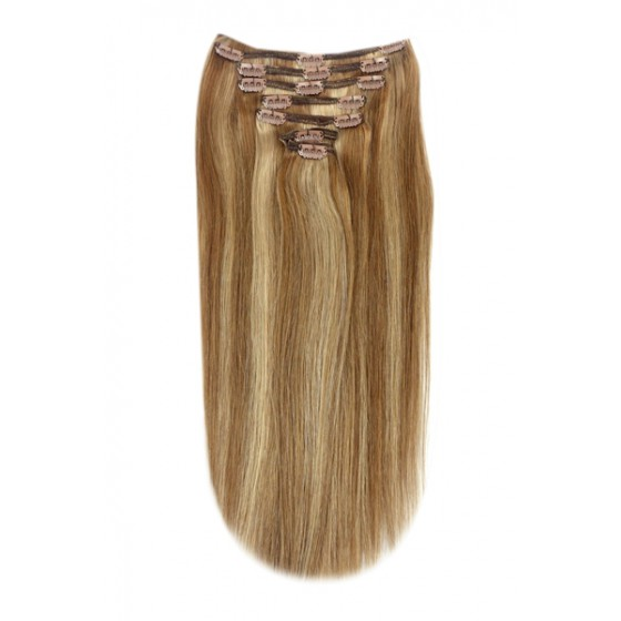 Remy Human Hair extensions Double Weft straight - bruin / blond 6/27#