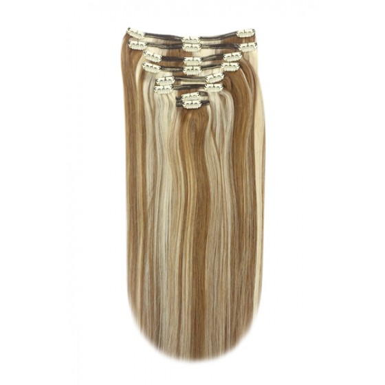 Remy Human Hair extensions Double Weft straight - bruin / blond 6/613#