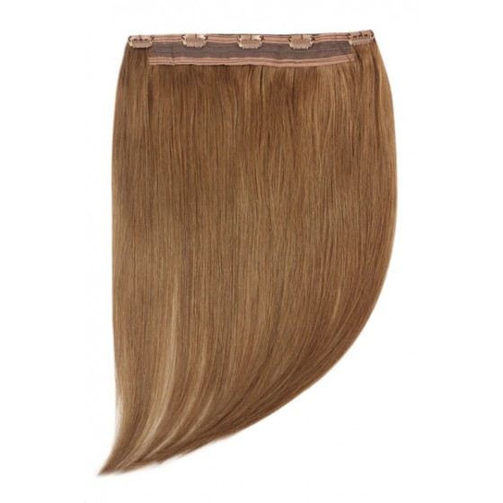 Remy Human Hair extensions Quad Weft straight - bruin 6#