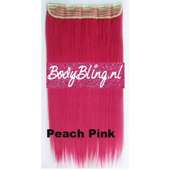 42 Brazilian clip in hair extension Peach Pink