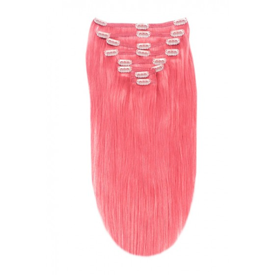 Remy Human Hair extensions straight - Pink