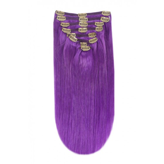 Remy Human Hair extensions Double Weft straight - purple#