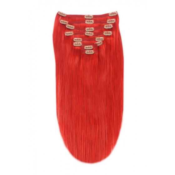 Remy Human Hair extensions straight - Red