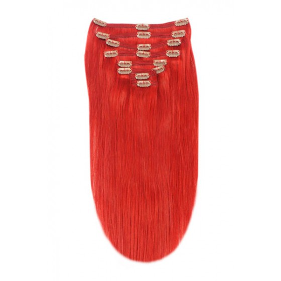 Remy Human Hair extensions Double Weft straight - rood Red#