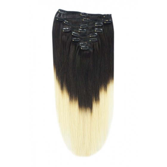Remy Human Hair extensions Double Weft straight - zwart / blond T1B/60#