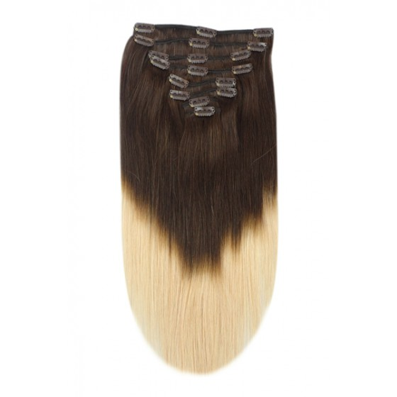 Remy Human Hair extensions Double Weft straight - bruin / blond T2/27#
