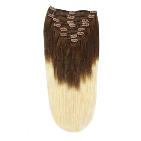 Remy Human Hair extensions straight - bruin / blond T4/613