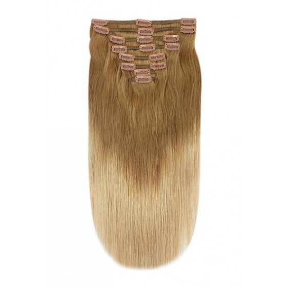 Remy Human Hair extensions Double Weft straight - bruin / blond T6/27#