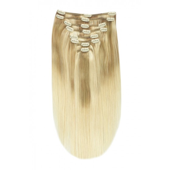 Remy Human Hair extensions straight - blond TP18/613