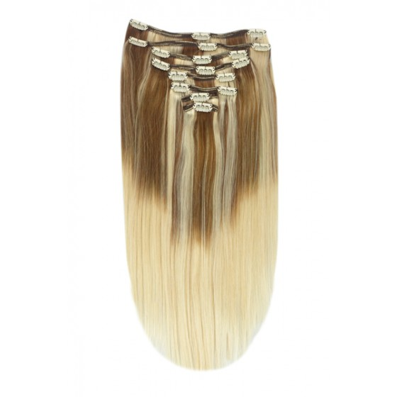 Remy Human Hair extensions Double Weft straight - bruin / blond TP6/613#