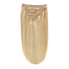 """Remy Human Hair extensions straight 20"""" - bruin / blond 10/16"""