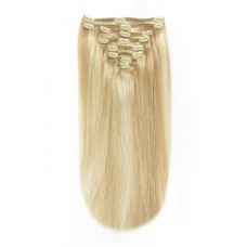 "Remy Human Hair extensions straight 18"" - bruin / blond 16/613"