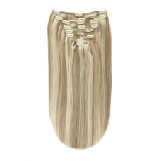 """Remy Human Hair extensions straight 16"""" - blond 18/613"""