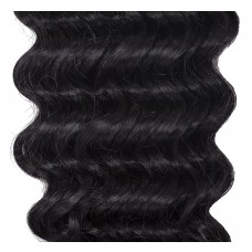 """Remy Human Hair extensions curly 14"""" - zwart 1#"""