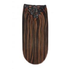 Remy Human Hair extensions straight - zwart / blond 1B/613