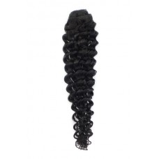 Remy Human Hair extensions curly - zwart 1B#