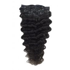 Remy Human Hair extensions wavy - zwart 1B#