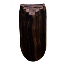 Remy Human Hair extensions Double Weft straight - bruin 2/6#