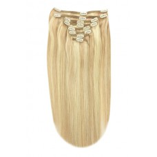 """Remy Human Hair extensions straight 20"""" - blond 27/613"""