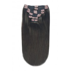 """Remy Human Hair extensions Double Weft straight 22"""" - bruin 2#"""