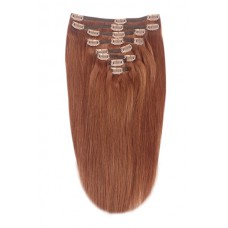 """Remy Human Hair extensions straight 16"""" - rood 33#"""