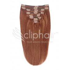 """Remy Human Hair extensions Double Weft straight 20"""" - rood 33#"""