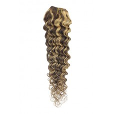 """Remy Human Hair extensions curly 26"""" - bruin / rood 4/27#"""