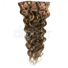 "Remy Human Hair extensions wavy 18"" - bruin / blond 4/27#"