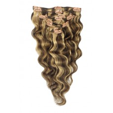 "Remy Human Hair extensions wavy 22"" - bruin / blond 4/27#"