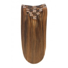 """Remy Human Hair extensions straight 16"""" - bruin / blond 4/30"""
